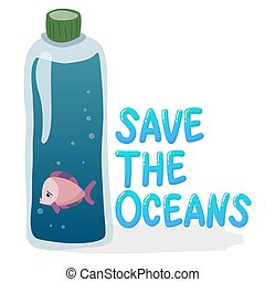 plastic pollution in ocean environmental problem concept.  poor fish swim inside plastic bottle with text save the oceans