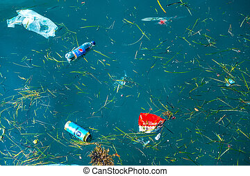 Plastic pollution problem - plastic and other rubbish in...