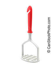 plastic potato masher isolated on white background