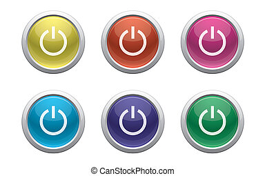 plastic power buttons on white