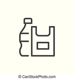 Plastic products line icon