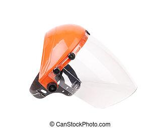 Plastic protective face shield.