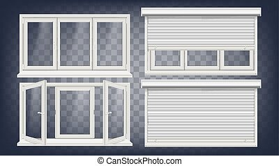 Plastic PVC Window Vector. Roller Blind. Opened And Closed....