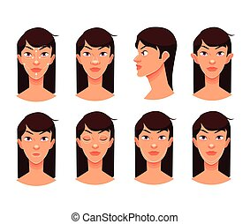 Plastic reconstructive surgery face, isolated vector cartoon...