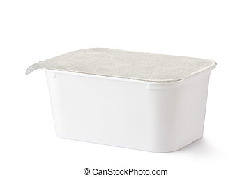 Plastic rectangular container with foil lid. Isolated on a...