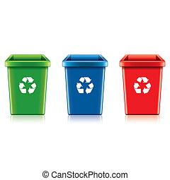 Plastic recycle bin set vector illustration