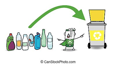 Plastic recycling - John the little eco warrior shows the...
