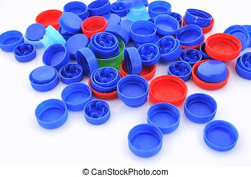 Plastic recycling. - Caps of the bottle.