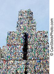 Stack of shreddered plastic bottles