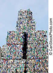 Plastic recycling - Stack of shreddered plastic bottles