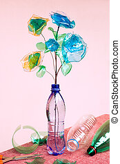 plastic recycling - creative recycling - flowers made from...