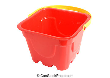 Plastic red bucket toy