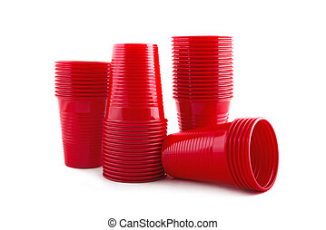 Plastic red cups stack on white background