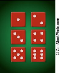 Plastic Red Dices for Casino Vector Illustration
