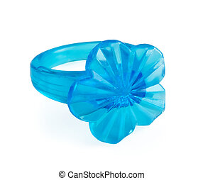 Plastic ring - Blue toy plastic ring isolated on white