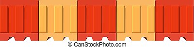 Plastic road barrier striped red and yellow vector illustration. The road barrier. The road block. Isolated object on white background