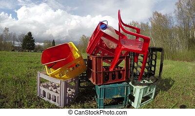 Plastic rubbish heap, time lapse 4K - Heap of plastic boxes,...