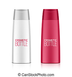 Cosmetic packaging, plastic shampoo or shower gel bottle template for your design