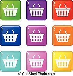Plastic shopping basket icons 9 set