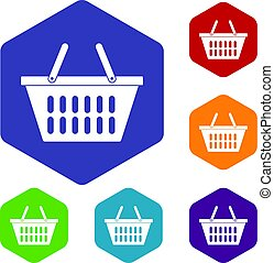 Plastic shopping basket icons set hexagon