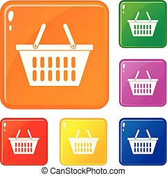 Plastic shopping basket icons set vector color