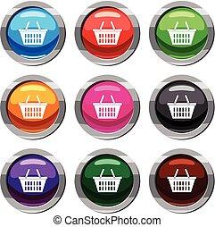 Plastic shopping basket set 9 collection