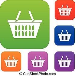 Plastic shopping basket set color collection