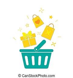Plastic shopping basket. Vector illustration.