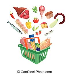 Plastic shopping basket with food on white background