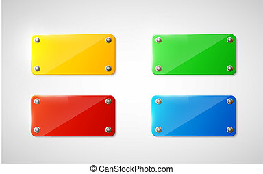 plastic signs on white background