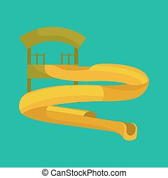 Plastic slides for water park on a white background.