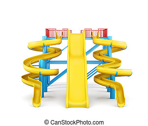 Plastic slides for water park on a white background. Front view.