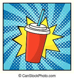 plastic soda cup and pop art style