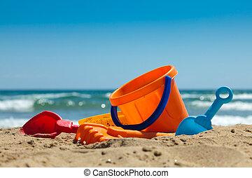 plastic, speelgoed, voor, strand