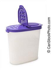 Plastic spice jar on white background