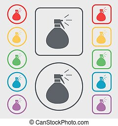 plastic spray of water icon sign. Symbols on the Round and square buttons with frame. Vector