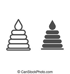Plastic stacking ring toy for baby line and solid icon, childhood concept, Pyramid toy sign on white background, Child educational toy icon in outline style for mobile and web design. Vector graphics.
