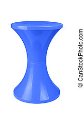 plastic stool - Blue plastic stool isolated on white...