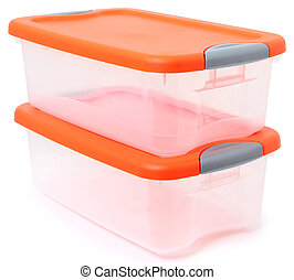 Orange and clear plastic storage container bins stacked over white background.