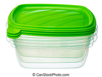 Plastic storage container for food isolated on white