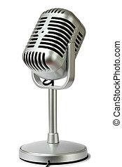 plastic studio microphone metallic color on pedestal, side ...