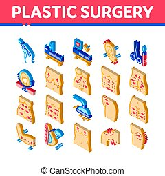 Plastic Surgery Clinic Isometric Icons Set Vector