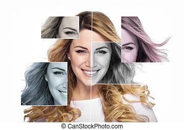 Plastic surgery concept.. Attractive blonde smiling woman portrait.
