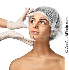 Plastic surgery concept perforation lines on face girl with blue eyes