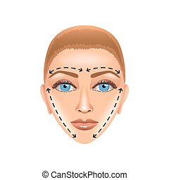 Plastic surgery face isolated on white vector