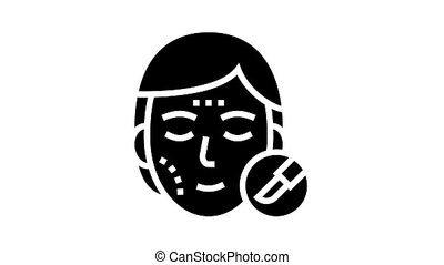 plastic surgery animated glyph icon. plastic surgery sign. isolated on white background