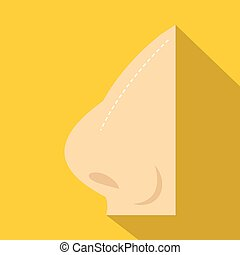 Plastic surgery of nose icon, flat style