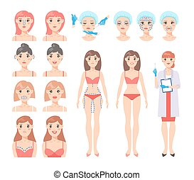 Plastic surgery vector set. - Beautiful woman gets an...
