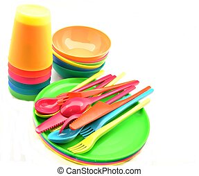 Plastic tableware consisting of cutlery, plates and bowls