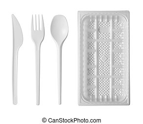 plastic disposable tableware isolated on white background
